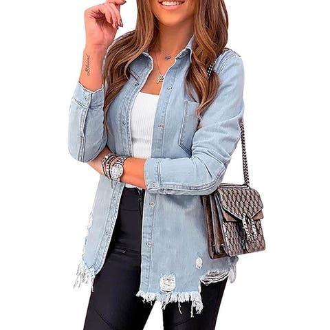 Women's Long-Sleeved Old Ripped Denim Jacket Autumn Solid Color