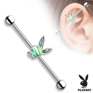 "Abalone Inlaid Playboy Bunny Center Surgical Steel Industrial Barbell-14GA-1& 1/2"" Length (Sold Ind)"