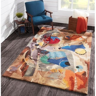 Momeni New Wave White Hand-Tufted and Hand-Carved Wool Rug (8' X 11') - 8' x 11'