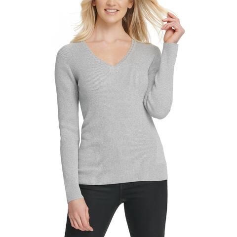 DKNY Womens Pullover Sweater Embellished V Neck