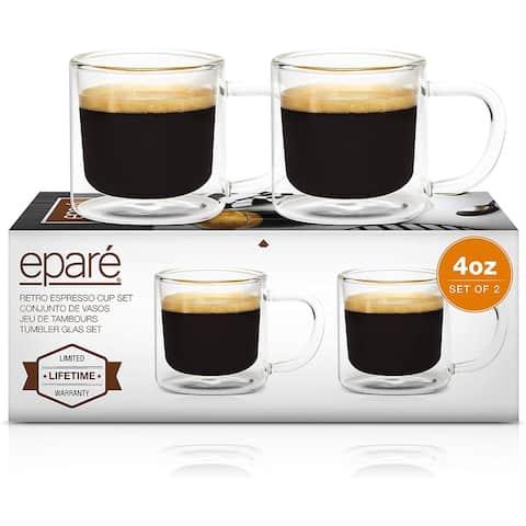 Epare Retro Espresso Cups Set of 2 Clear Mugs