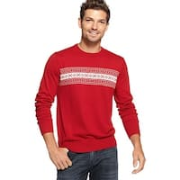Tommy Hilfiger Mens Fall Basics Crewneck Sweater Large Red Fair Isle Jumper