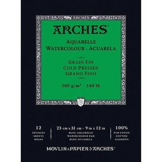 """Arches Watercolor Cold Pressed Paper Pad 9""""X12"""" 12 Sheets-"""