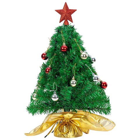 """Joiedomi 17.7 in. Tall Green & Red Plastic Prelit Tabletop Christmas tree with Gold DIY Kits - 7.2""""W x 7.1""""L x 17.7""""H"""