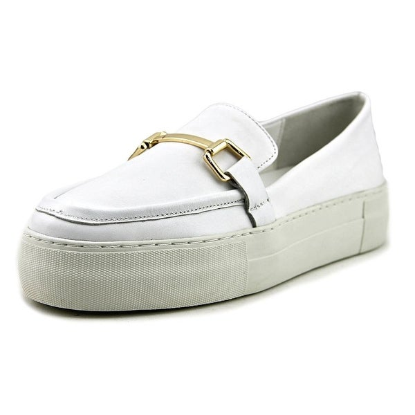J/Slides Prestyn Women Round Toe Leather White Loafer