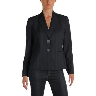 Le Suit Womens Petites Nantucket Two-Button Blazer Pinstripe Bracelet Sleeves