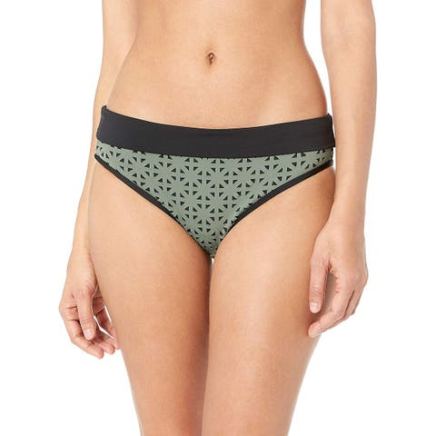 Skye Women's Mid Waist Full Coverage Bikini Bottom Swimsuit,, Green, Size Medium