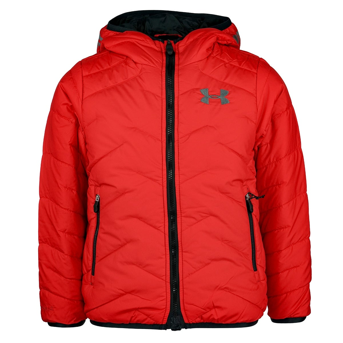 a439e8e72 Shop Under Armour Boys' Coldgear Reactor Hooded Jacket - red/graphite/black  - XS - Free Shipping Today - Overstock - 23528393