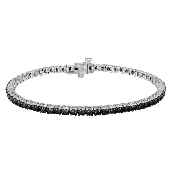 Prism Jewel 2 10mm 3 00ct Round Brilliant Cut Black Diamond Tennis Bracelet 14k White