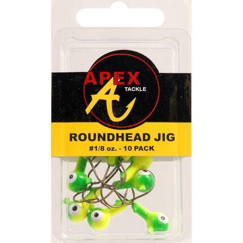 Apex ap18-10-2 jig heads 1/8oz 10pk cht/grn