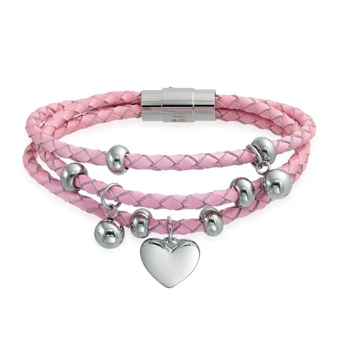 Heart Charms Pink Strand Braided Leather Bracelet Stainless Steel