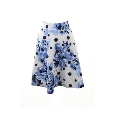 Inc International Concepts Blue Mixed-Print A-Line Skirt XL