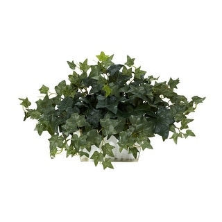 Nearly Natural Ivy with White Wash Planter - Silk Plant Green