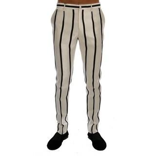 Dolce & Gabbana White Black Striped 100% Silk Pants