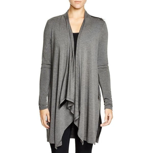 Lysse Womens Cardigan Top Heathered Faux Trim