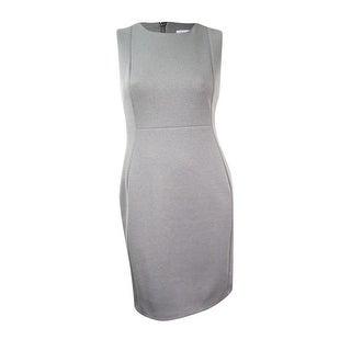 Calvin Klein Women's Sleeveless Heathered Sheath Dress - Grey
