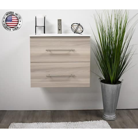 Volpa USA Napa 24-inch Ash Grey Wall-Mounted Floating Bathroom Vanity Set