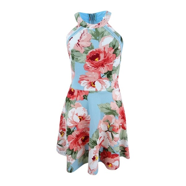 09ff81f9a Shop Crystal Doll Juniors' Floral-Print Fit & Flare Dress (5, Aqua/Pink) -  aqua/pink - 5 - On Sale - Free Shipping On Orders Over $45 - Overstock.com  - ...