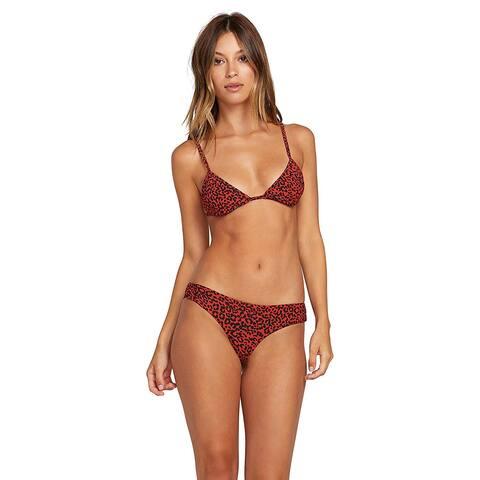 Volcom Junior's Women's On The Spot Cheekini Bikini, Burnt Red, Size X-Large