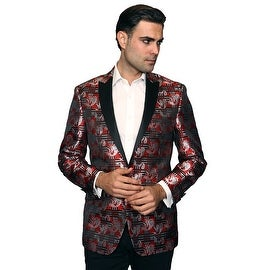 MZS-231 Red Men's Manzini Woven with Black satin Collar sport coat