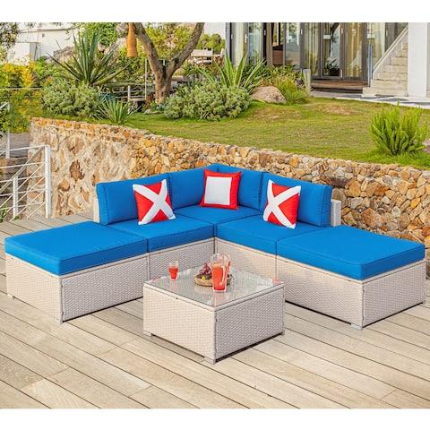 COSIEST 6 Piece Patio Furniture Beige Wicker Sectional Sofa