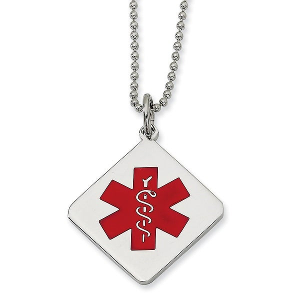 Chisel Stainless Steel Red Enamel Diamond Shaped Medical Pendant 22 Inch Necklace (1 mm) - 22 in