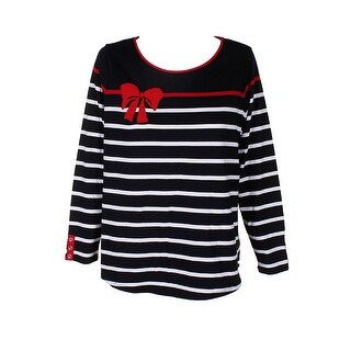 Charter Club Plus Size Black Red Cotton Embellished Top 1X