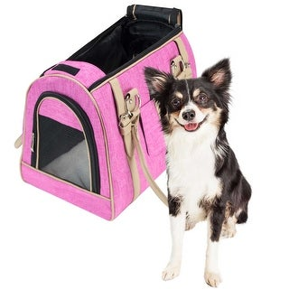 Pet Life Airline Approved Folding Collapsible Large Pink