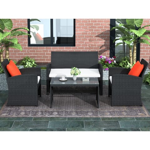 4 Pieces Outdoor Patio Set All-Weather Rattan Loveseat and Chairs with Tempered Glass Tabletop, Cushioned Seats for Garden
