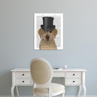 Easy Art Prints Fab Funky's 'Yellow Labrador, Formal Hound and Hat' Premium Canvas Art