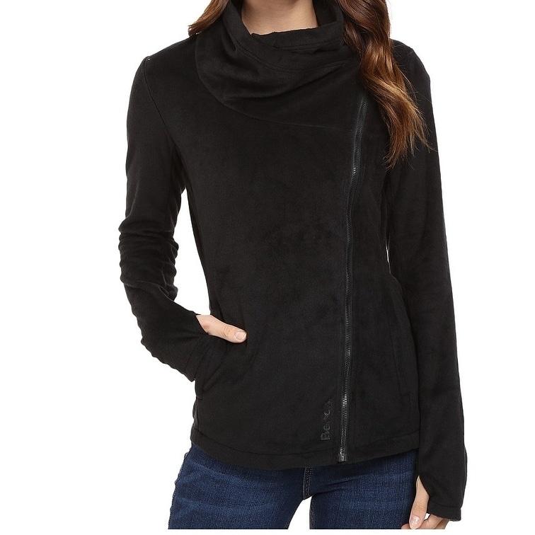 Bench New Deep Black Womens Size Medium M Draped Neck Fleece Jacket Overstock 20459652