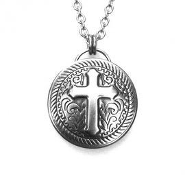 Loralyn Designs Stainless Steel Round Medieval Cross Pendant Necklace