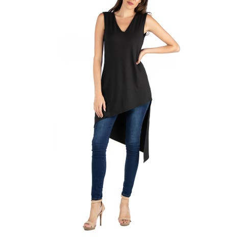24seven Comfort Apparel Long Sleeveless Tunic Top with V Neck and Asymmetric Hem R0022092