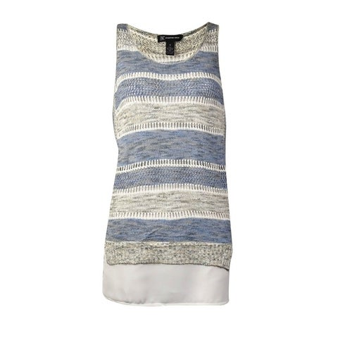 INC International Concepts Women's Striped Open Knit Top (M, Goddess Blue) - Goddess Blue - M