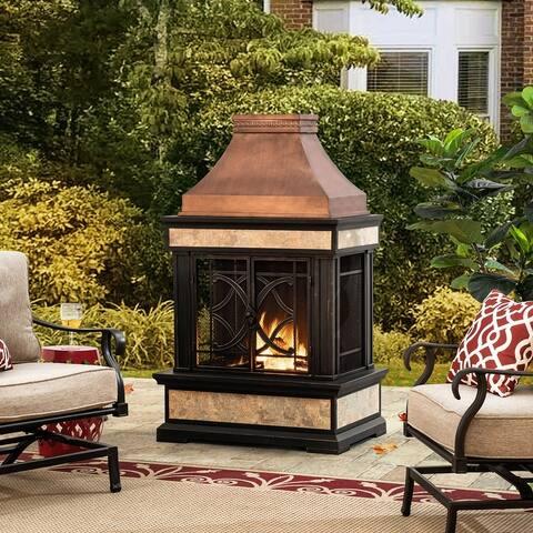 Sunjoy Heirloom Slate Wood Copper Burning Fireplace