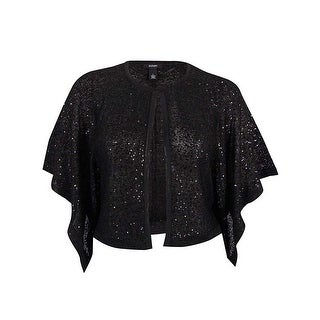 Alfani Womens Sequined Poncho Sleeve Cape Sweater, Deep Black, L - Black