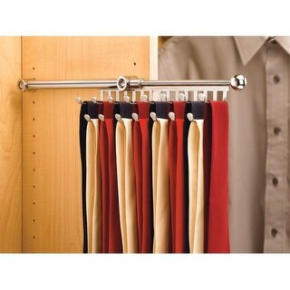 Rev-A-Shelf CTR-14 21-7/8 Inch Long Pull Out Tie and Scarf Organizer from the CTR Series (Option: Nickel Finish)