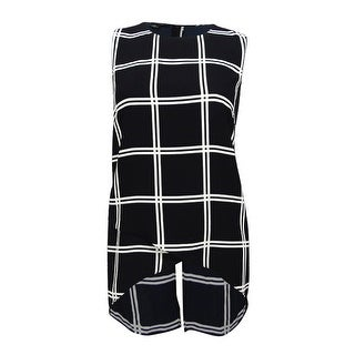 Alfani Women's PRIMA Plaid High-Low Crossover Top (12, Large Lines) - large lines - 12