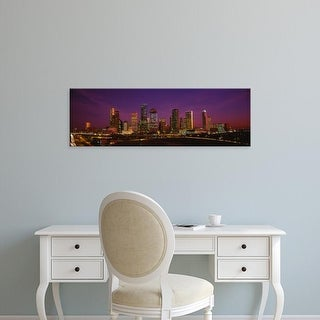 Easy Art Prints Panoramic Images's 'Buildings lit up at night, Houston, Texas, USA' Premium Canvas Art