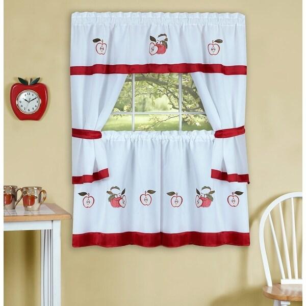 Gala Apple Embellished Cottage Kitchen Curtain Set, 58x36 and 58x36