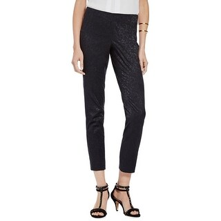 Vince Camuto NEW Black Women's Size 12X27 Side-Zip Jacquard Pants
