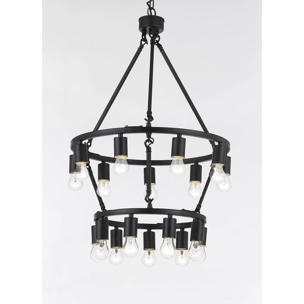 Chandelier Rustic Style 18-light Double Tiered Chandelier Lighting