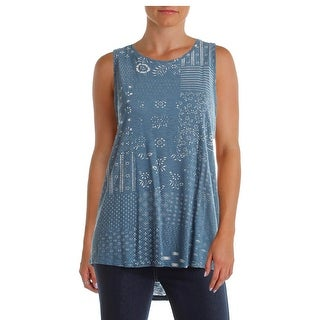 Lucky Brand Womens Tank Top Printed Keyhole - m