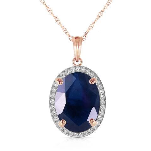 6.58 Carat 14K Solid Gold Loren Sapphire Diamond Gemstone Necklace