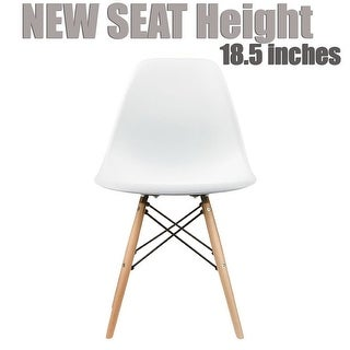 2xhome Modern Eames Side Dining ChairWhiteWith Natural Wood Legs