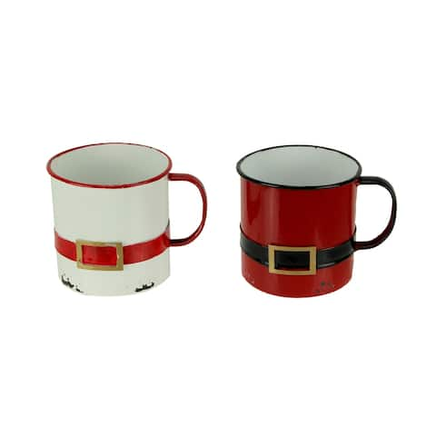 Red and White Enamel Metal Santa Suit Display Mugs Set of 2 - 5.25 X 6.5 X 5 inches