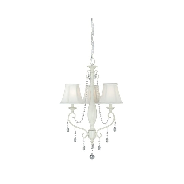 Vaxcel Lighting H0060 Bristol 3 Light Single Tier Chandelier with Fabric Shades - 19.5 Inches Wide - Antique Ivory