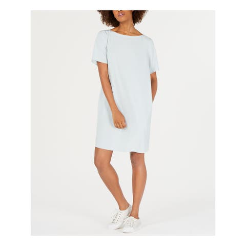 EILEEN FISHER Light Blue Short Sleeve Above The Knee Dress S