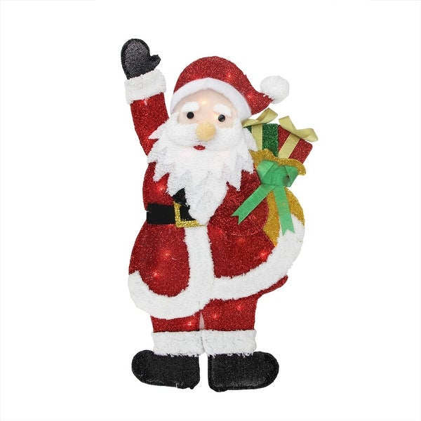 """32"""" Lighted Tinsel Waving Santa Claus with Gift Christmas Outdoor Decoration"""