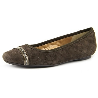 Vaneli Sigrid Women N/S Round Toe Leather Brown Ballet Flats